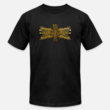 Gold Circuit board with heart - Unisex Jersey T-Shirt