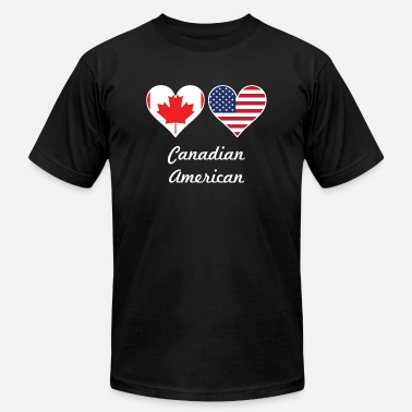 Heart Canada Canadian American Flag Hearts - Men's Jersey T-Shirt