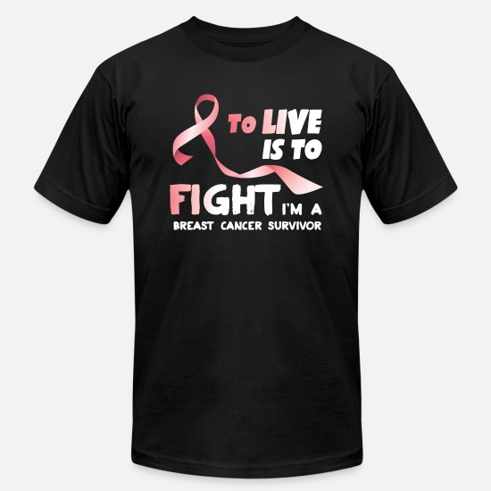 Cancer T-Shirts - Fight With Breast Cancer - Unisex Jersey T-Shirt black