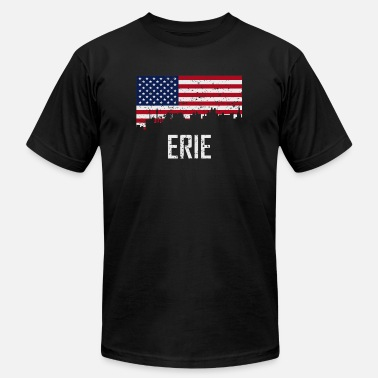 Pennsylvania American Flag Erie Pennsylvania Skyline American Flag - Men's  Jersey T-Shirt