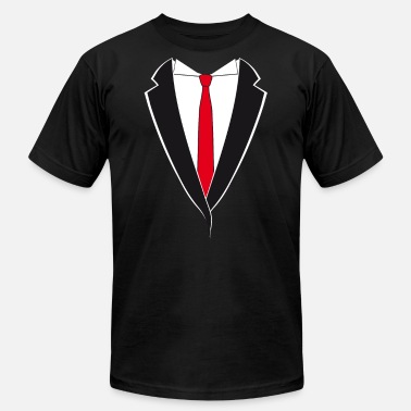 Suit Tuxedo with Red Tie - Unisex Jersey T-Shirt