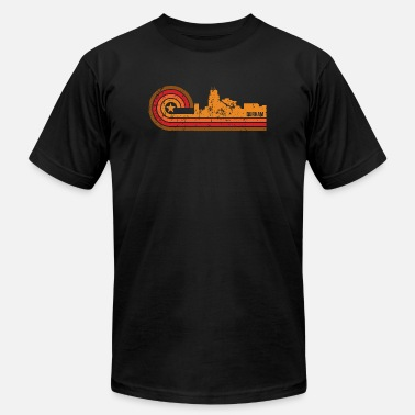 Durham Nc Retro Style Durham North Carolina Skyline - Men's  Jersey T-Shirt