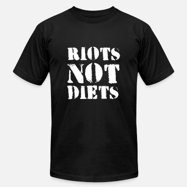 Positive Body Image Quotes riots not diets curvy woman rights feminist gift - Men's Jersey T-Shirt