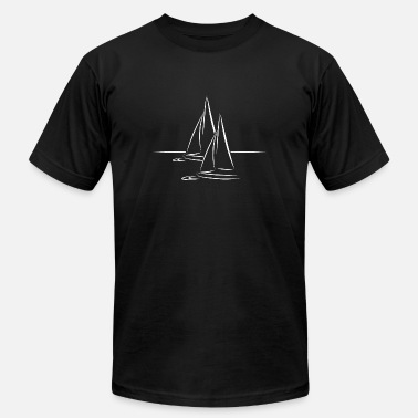 Sail Boat Draw Sailing Line gift idea boat ship sail sea sailer - Men's  Jersey T-Shirt