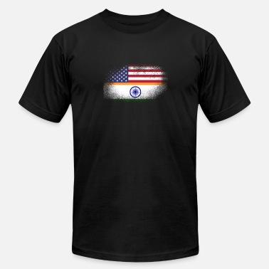 Ahmedabad Distressed Half America Half India Flag Mix - Men's Jersey T-Shirt