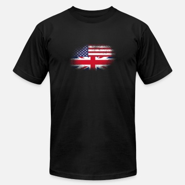 British Heritage Distressed Half America Half UK Flag Mix - Men's Jersey T-Shirt