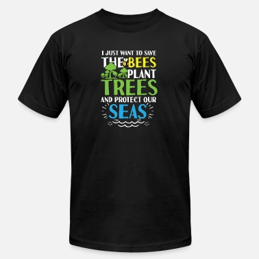 Save Bees plant Trees protect Seas planet - Men's  Jersey T-Shirt