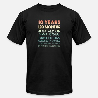 Plan 10th Birthday T Shirt - 10 Years Of Being Awesome - Unisex Jersey T-Shirt