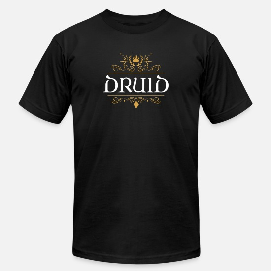 Role T-Shirts - Druid Slaying Dragons in Dungeons Tabletop RPG - Men's Jersey T-Shirt black