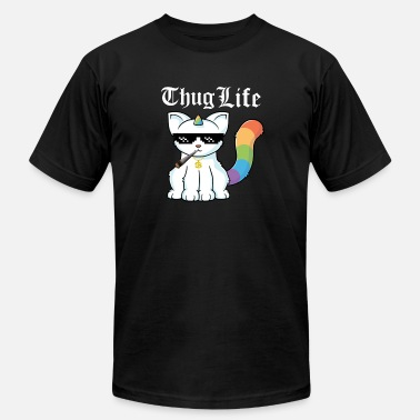 Smoke Weed weed smoking unicorn cat - Men's  Jersey T-Shirt