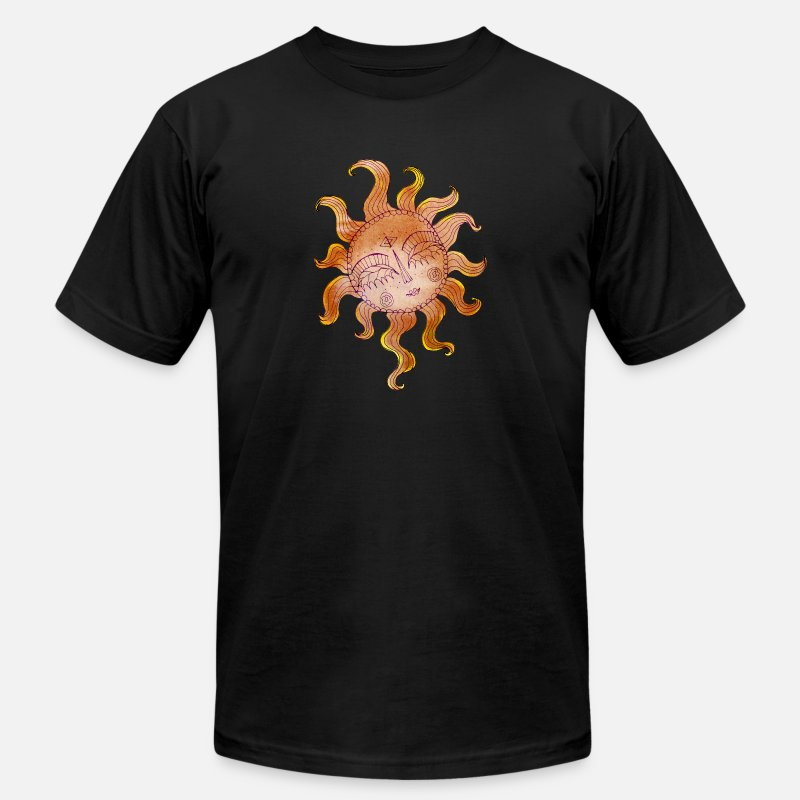 Psychedelic T-Shirts - Tribal-Psychedelic Sun-Face- Art Illustration 41 - Men's Jersey T-Shirt black