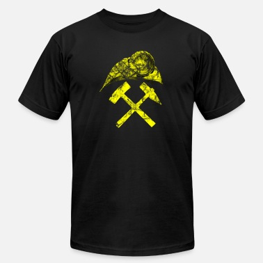 Ore steel coal mining miner lamp helmet yellow worker - Men's Jersey T-Shirt