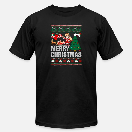Christmas T-Shirts - Merry Christmas Ugly Christmas Sweater - Men's Jersey T-Shirt black