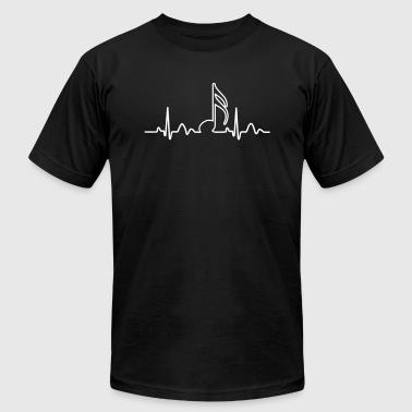 Lines of Heart, heart, pulse 1 / 16 note for musicians clock dancers clubbers. - Men's Fine Jersey T-Shirt