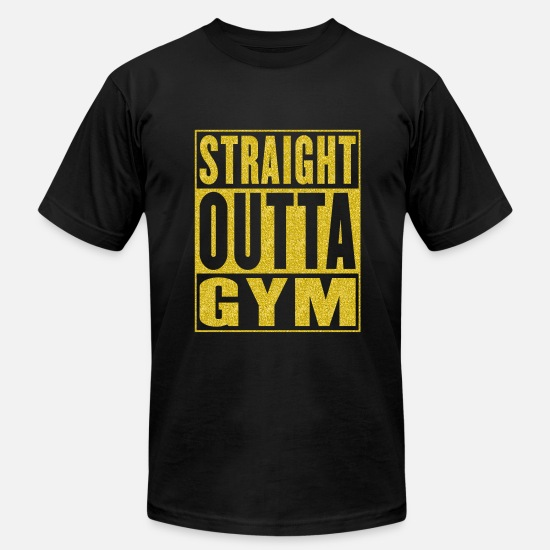 Gold T-Shirts - Straight Outta Gym - Men's Jersey T-Shirt black