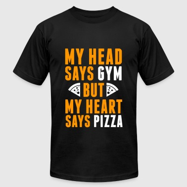 Head says gym, heart says pizza fun tee - Men's Fine Jersey T-Shirt