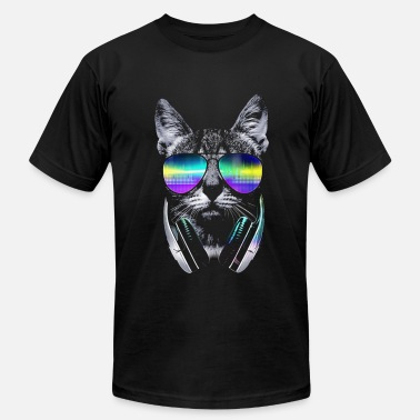 Cat With Headphones Psychedelic Kitty  - Men's Jersey T-Shirt