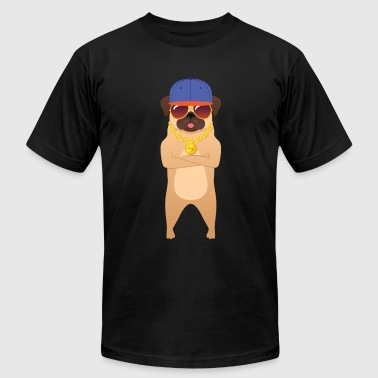 Cool Pug With Sunglasses And Cap - Men's Fine Jersey T-Shirt