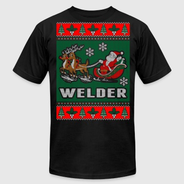 Ugly Christmas Welder Welder Ugly Christmas Sweater - Men's Fine Jersey T-Shirt