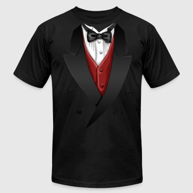Tuxedo Tie Designs red vest - Men's Fine Jersey T-Shirt