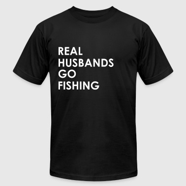 Funny Fishing Husband Real Husbands go Fishing - Men's Fine Jersey T-Shirt