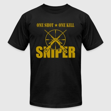 Sniper Tab ONE SHOT ONE KILL SNIPER - Men's Fine Jersey T-Shirt