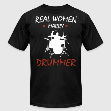 Real women marry drummer - Men's Fine Jersey T-Shirt