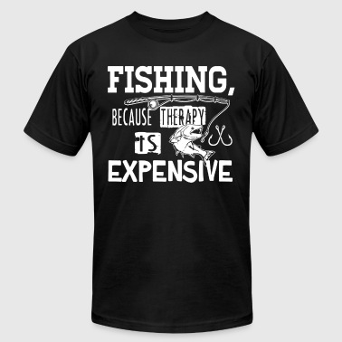 Fishing because therapy is expensive - Men's Fine Jersey T-Shirt