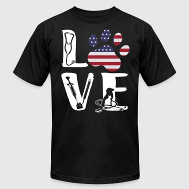 Vet Tech Sign Love America - Men's Fine Jersey T-Shirt