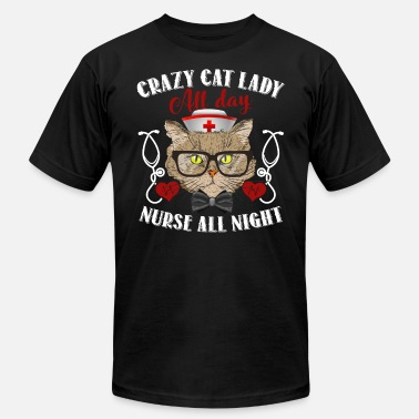 Nurse Cat Lady Crazy Cat Nurse Lady Shirt - Men's Fine Jersey T-Shirt