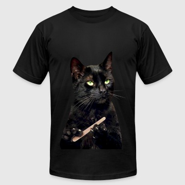 Nonplussed Black Cat Filing Nails - Men's Fine Jersey T-Shirt