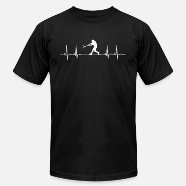 Batting Helmet Catch ekg baseball heart pulse hit Stick ball game catch - Men's Fine Jersey T-Shirt