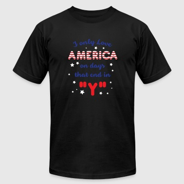 I only love America on days that end in Y - Men's Fine Jersey T-Shirt