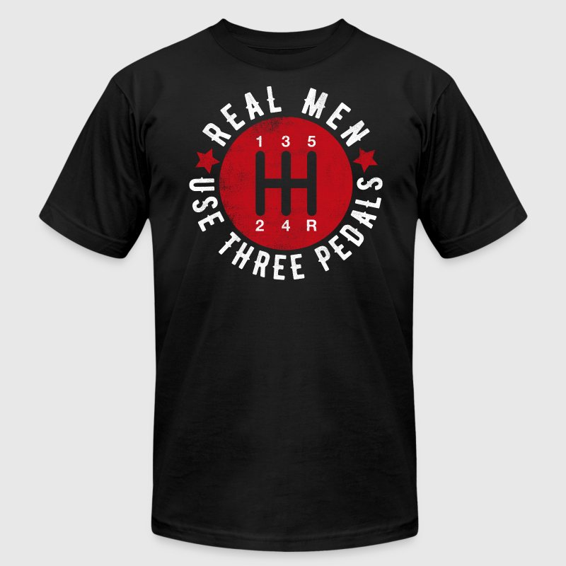 Real Men Use Three Pedals - Men's Fine Jersey T-Shirt