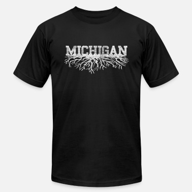 Michigan Born And Raised Michigan Rooted Roots Raised - Men's  Jersey T-Shirt