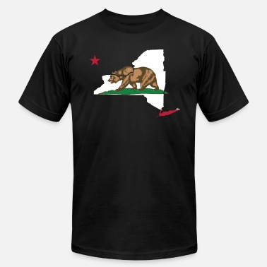 California Flag Funny Apparel New York California Funny Pride Flag Apparel - Men's  Jersey T-Shirt