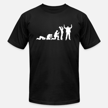 Evolution Jesus Cross Evolution of praying - Men's  Jersey T-Shirt
