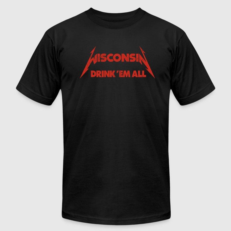 WISCONSIN DRINK EM ALL - Men's Fine Jersey T-Shirt