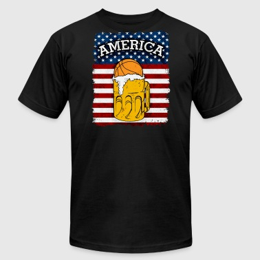 Basketball and Beer American Flag - Men's Fine Jersey T-Shirt