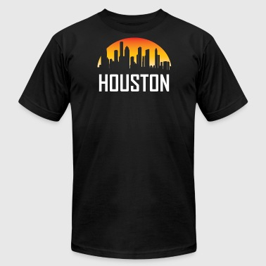 Houston Texas Sunset Skyline - Men's Fine Jersey T-Shirt