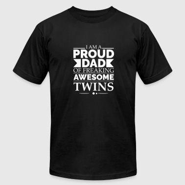 Dad Of Twins Gift Proud dad of awesome twins - Men's Fine Jersey T-Shirt