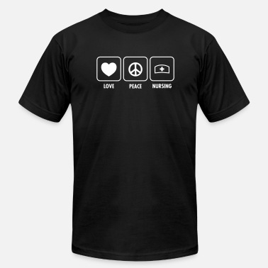 Love Nurses Love, Peace, Nursing - Men's  Jersey T-Shirt
