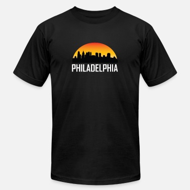 Philadelphia Skyline Silhouette Sunset Skyline Silhouette of Philadelphia PA - Men's  Jersey T-Shirt