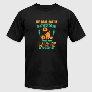 Gym - Battle, Donuts, Deadlifts - Men's Fine Jersey T-Shirt