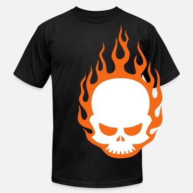 Flame Symbol Skull In Flames - Men's  Jersey T-Shirt