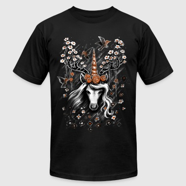 Deer Unicorn Flowers - Men's Fine Jersey T-Shirt