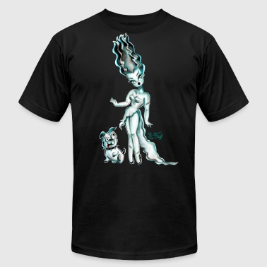 Bride of Frankenstein with Igor Bulldog - Men's Fine Jersey T-Shirt