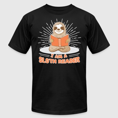 I Am A Sloth Reader Shirts - Men's T-Shirt by American Apparel