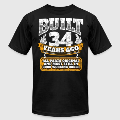 34th birthday gift idea: Built 34 years ago Shirt - Men's T-Shirt by American Apparel