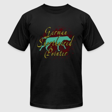 ELEGANT TEAL GERMAN SHORTHAIRED POINTER DOG SHIRT - Men's T-Shirt by American Apparel